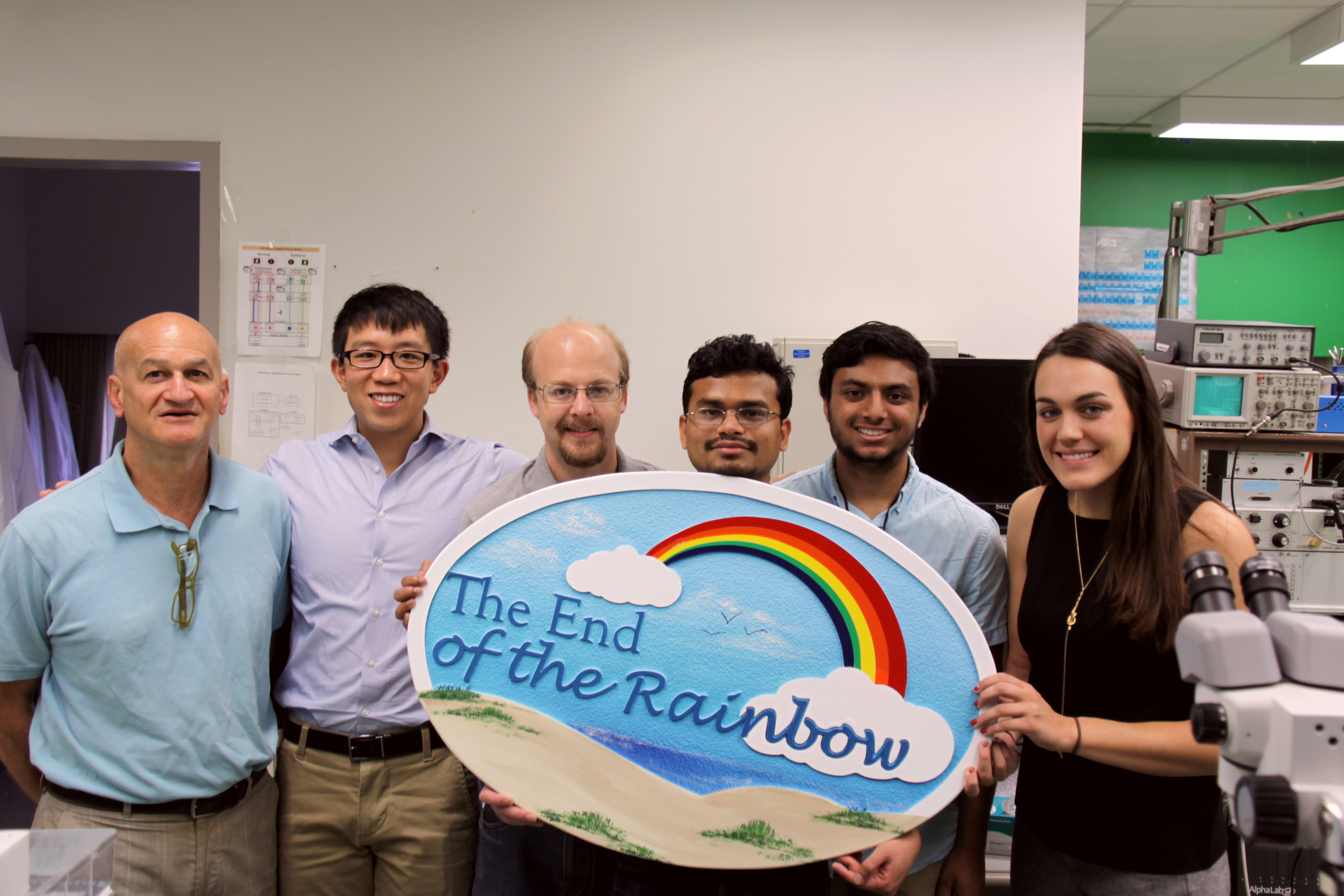 A picture of staff at Dr. Baron's lab holding a sign that reads